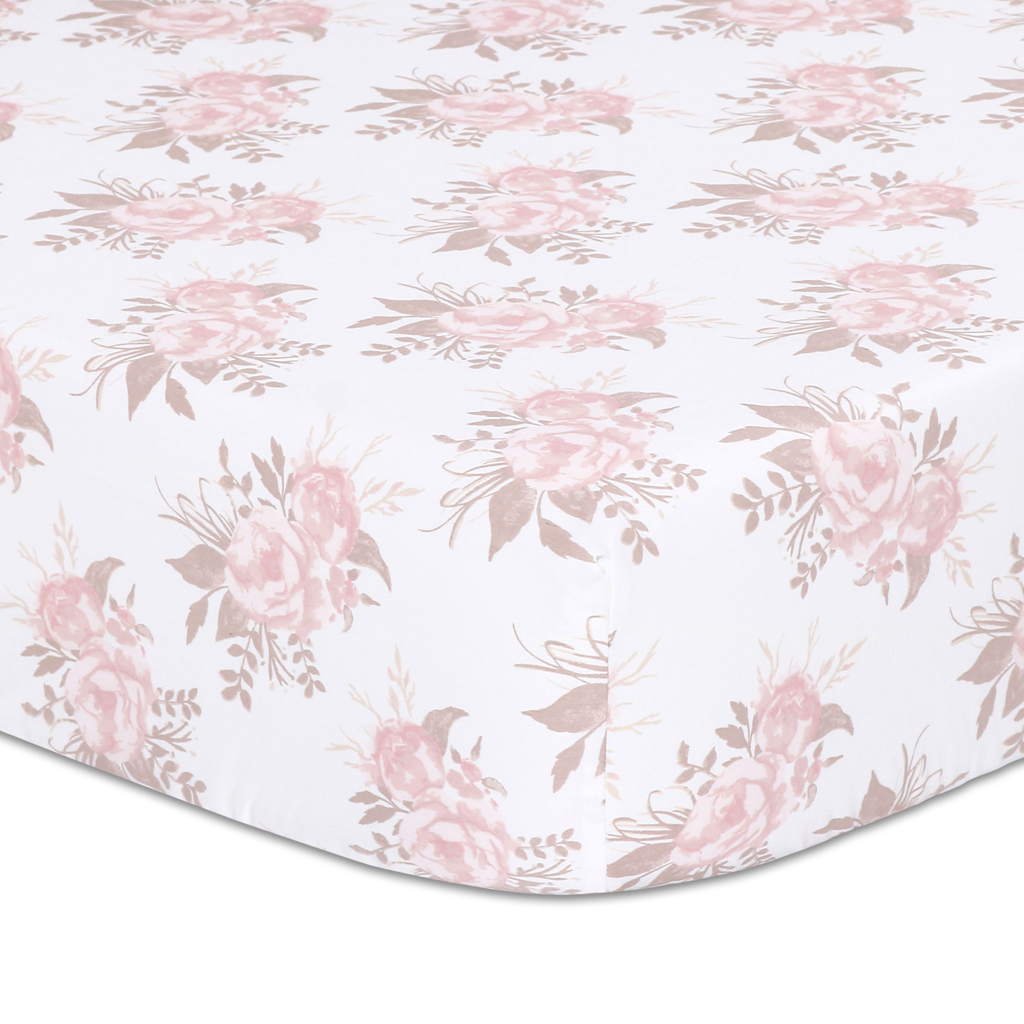 Baby Girl Fitted Crib Sheet - Pink Floral Design - Grace Collection by The Peanut Shell
