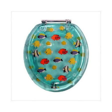 Beneke magnolia tropical fish acrylic resin round toilet for Fish toilet seat