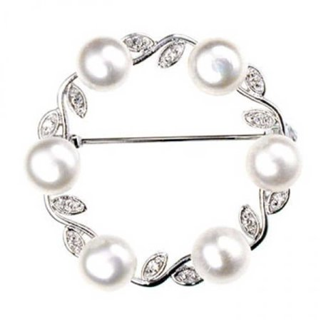 Cultured Pearl Pearl Brooch - 925 Sterling Silver Freshwater Cultured Pearl Leaf Circle Brooch Pin