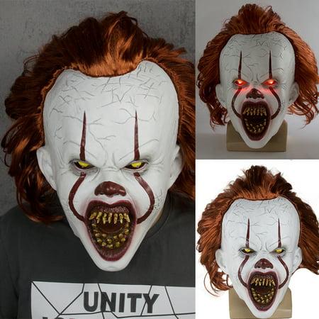 Halloween Ii 2019 Mask (Pennywise LED Joker Mask Adult Halloween IT Chapter Two 2 Cosplay Scary Joker)