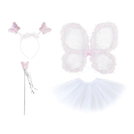 Girls' Princess Fairy Set with Wings, tutu, Wand and Headband, White - Pretty Fairy Wings