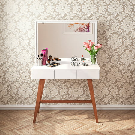 Boahaus Urban Modern Vanity Table with Mirror, 3 Drawers, and Solid Wood Legs, White Finish