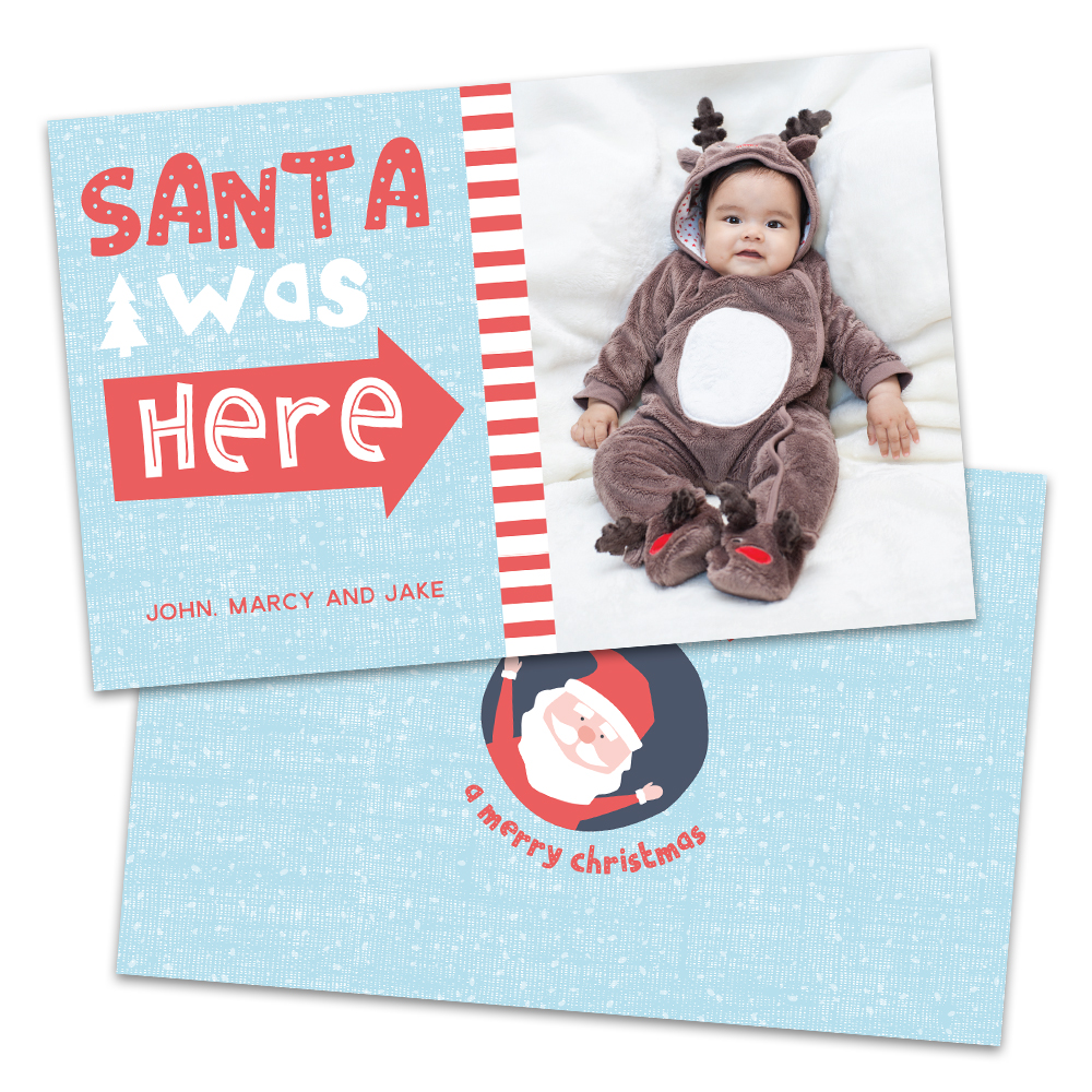 Personalized Santa Was Here Christmas Card
