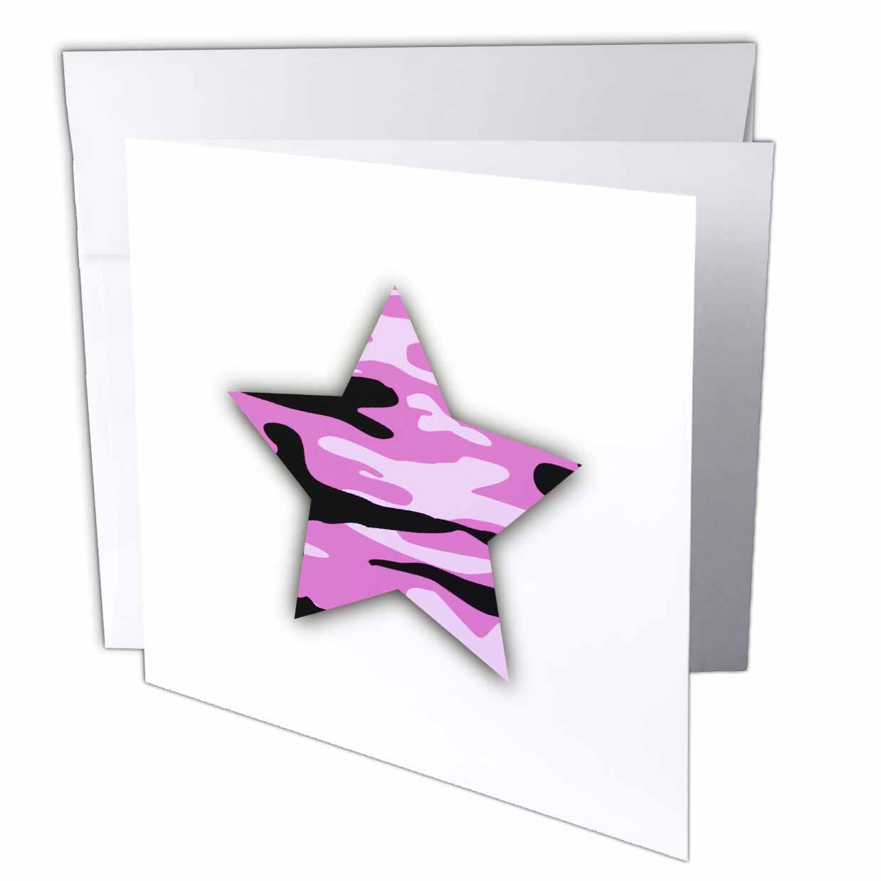 3dRose Pink Camo Star - girly army camouflage pattern - military soldier, Greeting Cards, 6 x 6 inches, set of 12