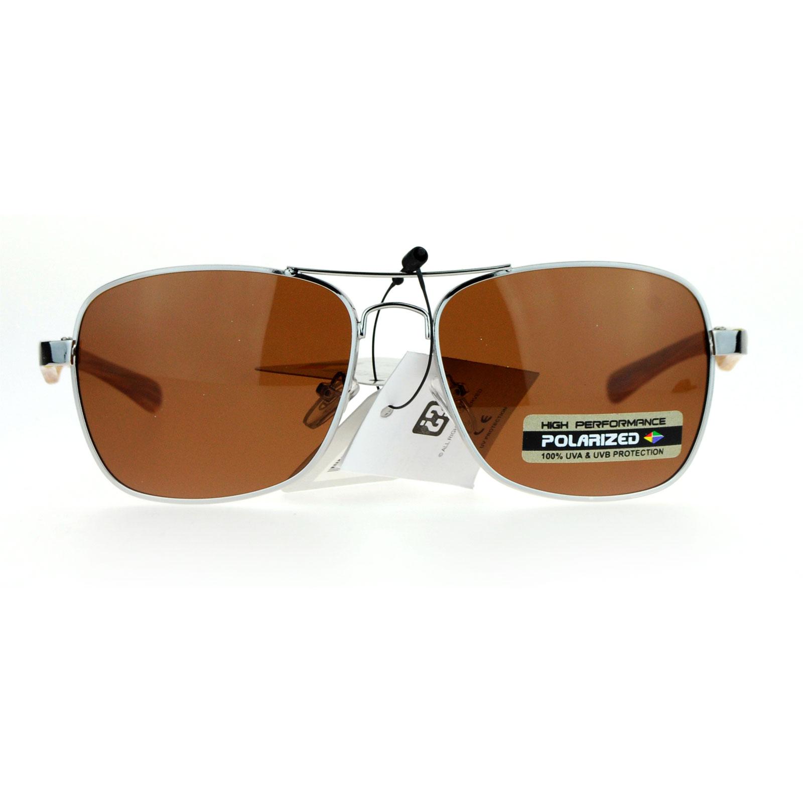 SA106 Antiglare Polarized Lens Mens Rectangular Aviator Sunglasses