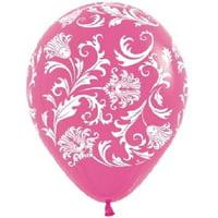 DAMASK HOT PINK Fuchsia & White Print (6) Shower Wedding Latex Helium Balloons, By LoonBalloon