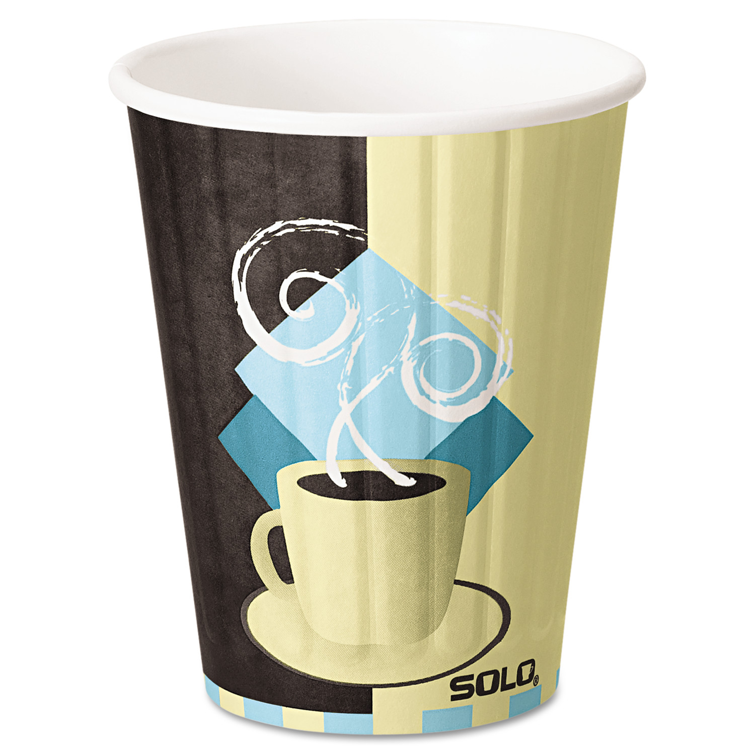 SOLO Cup Company Duo Shield Insulated Paper Hot Cups, 12oz, Tuscan, Chocolate/Blue/Beige, 600/Ct