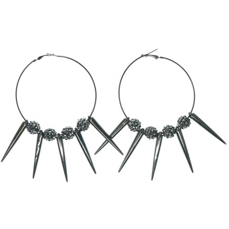 Large Hoop Earrings Various Style Ball Crystal & Spike Accents For Women