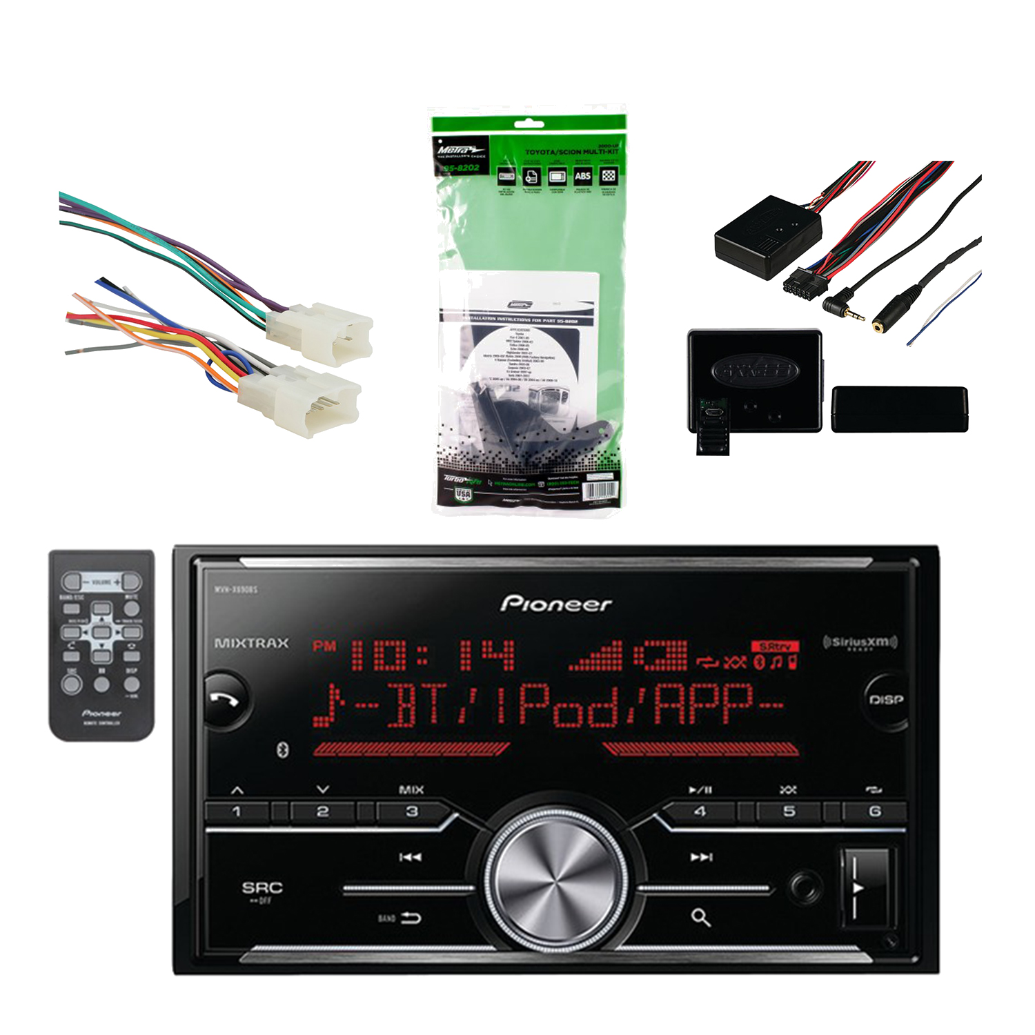 Pioneer Vehicle Digital Media 2DIN Receiver with Bluetooth Enhanced Audio Functions, Black with Metra DDIN Multi Dash Kit, Metra Radio Wiring harness & Metra Universal Steering Wheel Control Interface