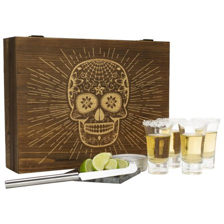 Atterstone Tequila Box Set Featuring 4 Premium Shot Glasses, Garnish Knife, Salt Tin with Lid, Candy Skull Themed Wooden Box and Coaster | Perfect for Mexican Themed Parties, Holiday Gifts
