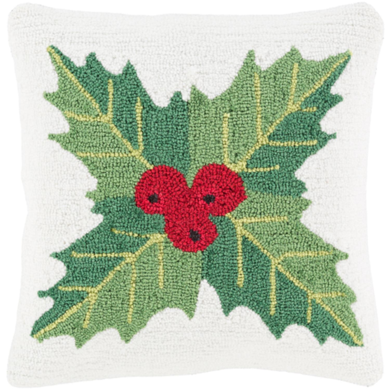 "18"" Snow White and Leaf Green Mistletoe Deck the Halls Christmas Throw Pillow"