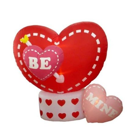 6' Inflatable Animated Be Mine Hearts Lighted Valentine's Day Yard Art Decoration - Valentine Inflatables