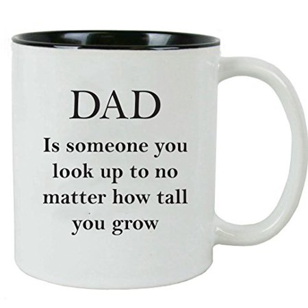CustomGiftsNow Dad: Someone You Look Up To 11 oz Ceramic Coffee Mug with FREE Gift Box - Gift for Father's Day, Christmas for Dad, Grandpa, Grandfather, Papa, Husband (Black)](Boxes For Christmas Gifts)