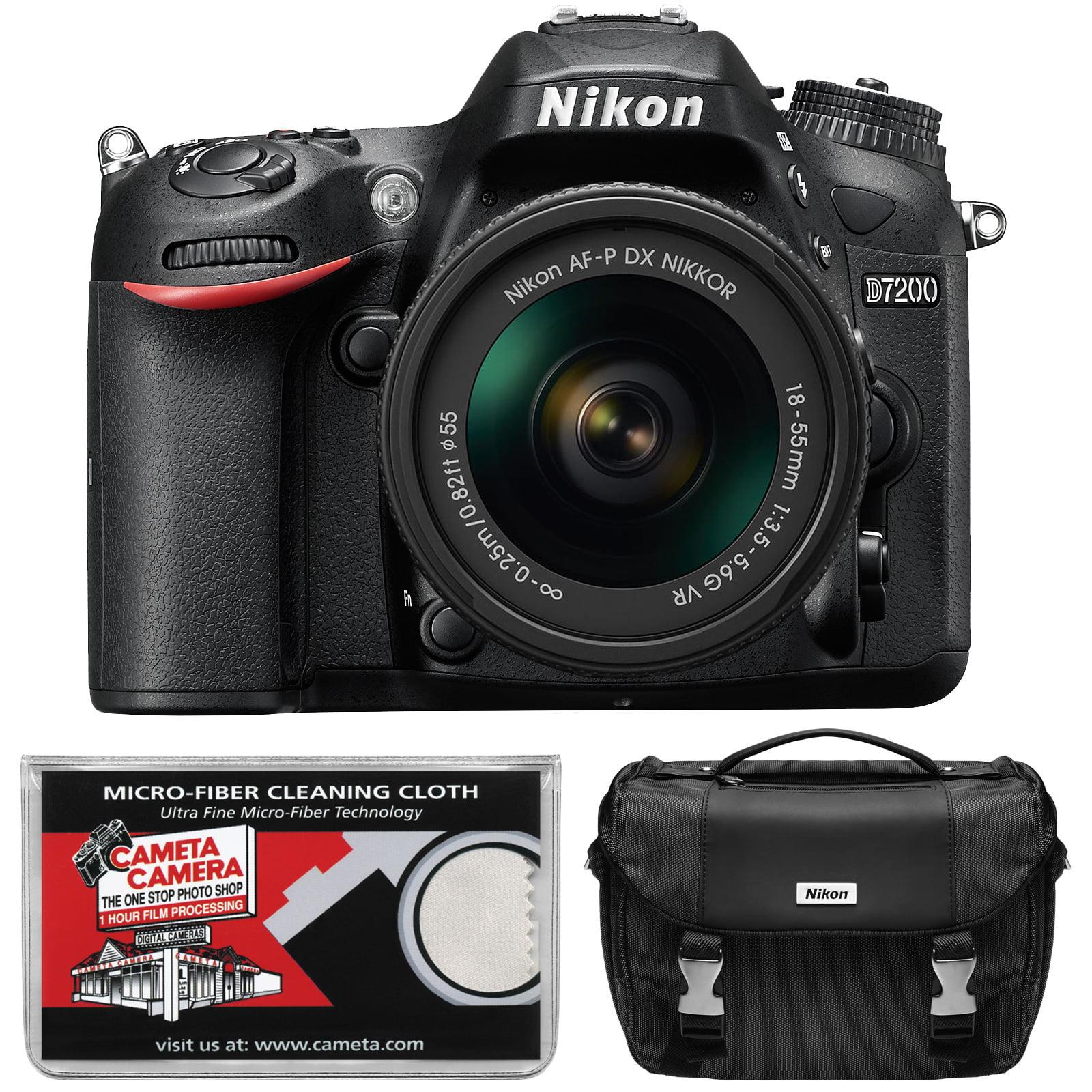 Nikon D7200 Wi-Fi Digital SLR Camera Body - Factory Refurbished with AF-P 18-55mm G VR DX Zoom Lens + Case + Kit