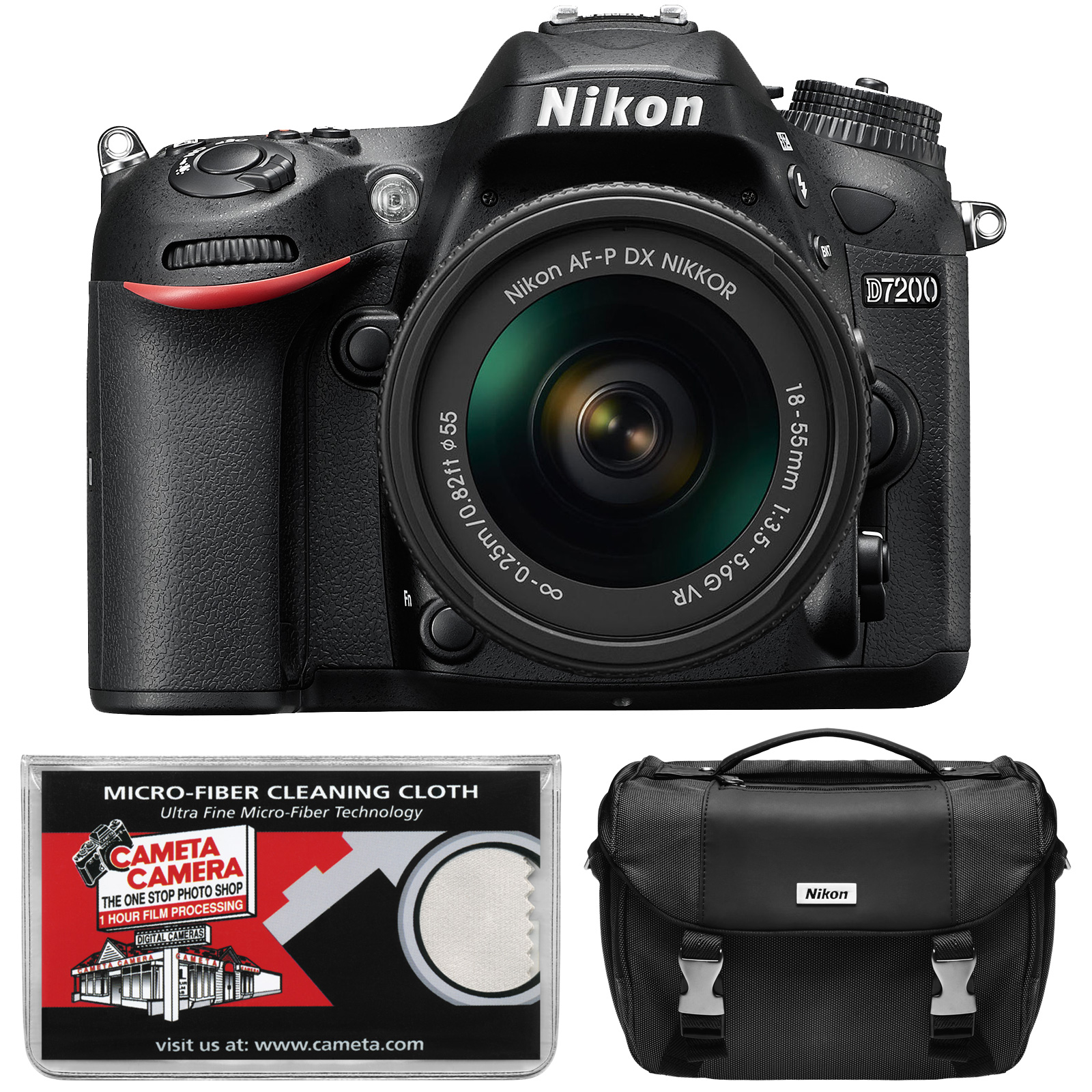 Nikon D7200 Wi-Fi Digital SLR Camera Body - Factory Refurbished with AF-P 18-55mm G VR DX Zoom Lens + Case + Kit