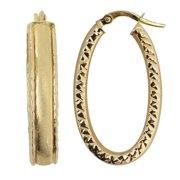 Fremada  10k Yellow Gold Satin/ Diamond-cut Finish Oval Hoop Earrings