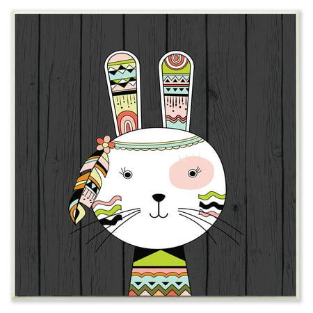 The Stupell Home Decor Collection Tribal Boho Rabbit Wall Plaque Art (Boho Home Decor)