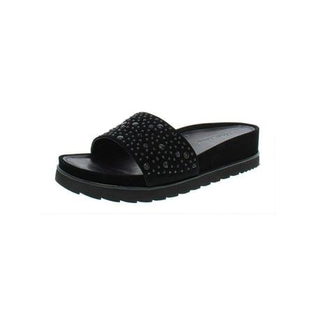 Donald J Pliner Womens Cava Suede Open Toe Casual Slide, Black Suede, Size 7.0