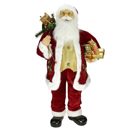36 Traditional Holly Berry Standing Santa Claus Christmas Figure with Presents and Gift Bag
