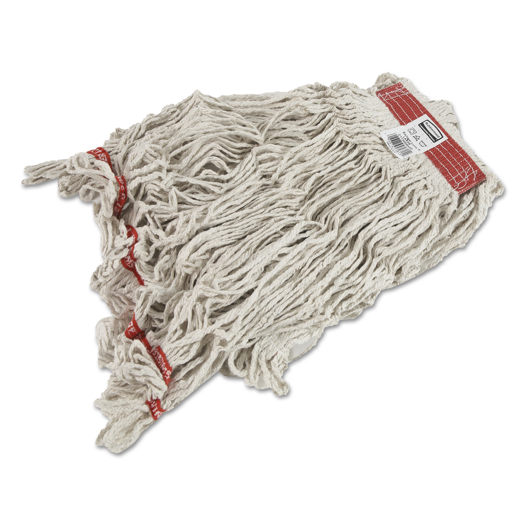 Rubbermaid Commercial Swinger Loop Wet Mop Heads, Cotton/Synthetic, White, X-Large, 6/Carton