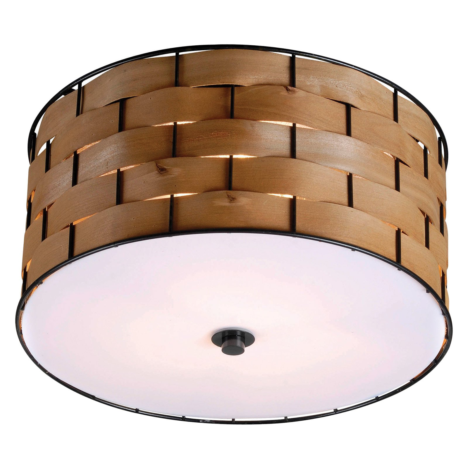Kenroy Home Shaker Dark Woven Wood 3 Light Flush Mount