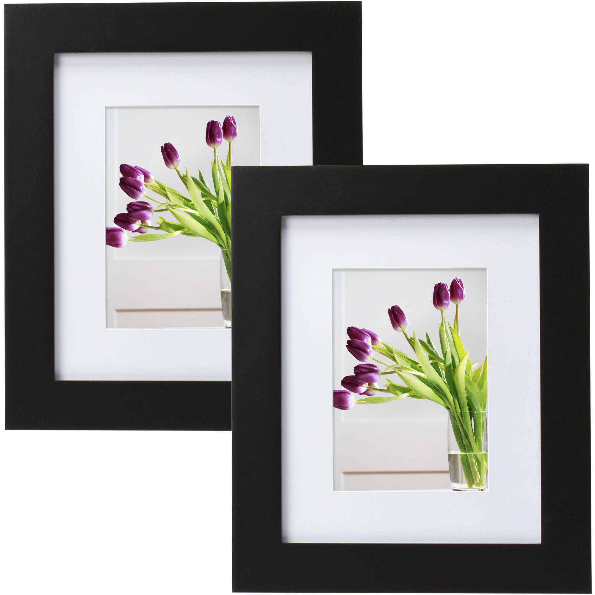 "Mainstays Museum 8"" x 10"" Matted to 5"" x 7"" Picture Frame, Black, Set of 2"