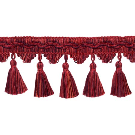 - 5 Yard Value Pack of Veranda Collection 3.5 Inch Tassel Fringe Trim - Maroon, Black Cherry, Chinese Red, Style# VTF035, Color: Merlot - VNT12 (4.5M / 15 Ft)