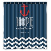 GCKG Navy Chevron Hope Anchor The Soul Waterproof Polyester Shower Curtain and Hooks Size 66x72 inches