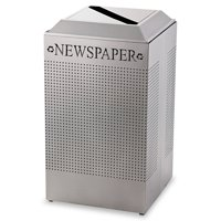 Rubbermaid Commercial Silhouette Paper Recycling Receptacle, Square, Steel, 29gal, Silver Metallic by RUBBERMAID COMMERCIAL PROD.