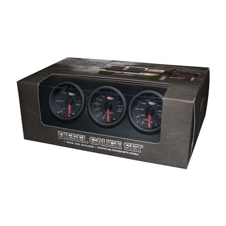GlowShift Black 7 Color Diesel Gauge Set - 60psi Boost, 2400 Pyrometer EGT & Trans Temp