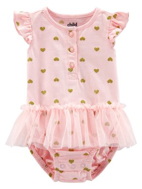 Child of Mine by Carter's Short Sleeve Heart Printed Sunsuit, 1 Piece