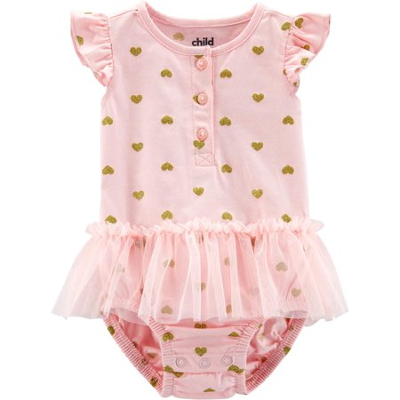 Short Sleeve Heart Printed Sunsuit, 1 Piece (Baby Girls)