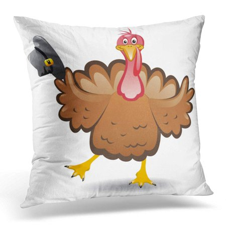 ECCOT Black Drawing Turkey Clipart for Happy Thanksgiving Day Funny Cartoon Bird Red November Pillowcase Pillow Cover Cushion Case 16x16 - Happy Halloween Funny Clipart