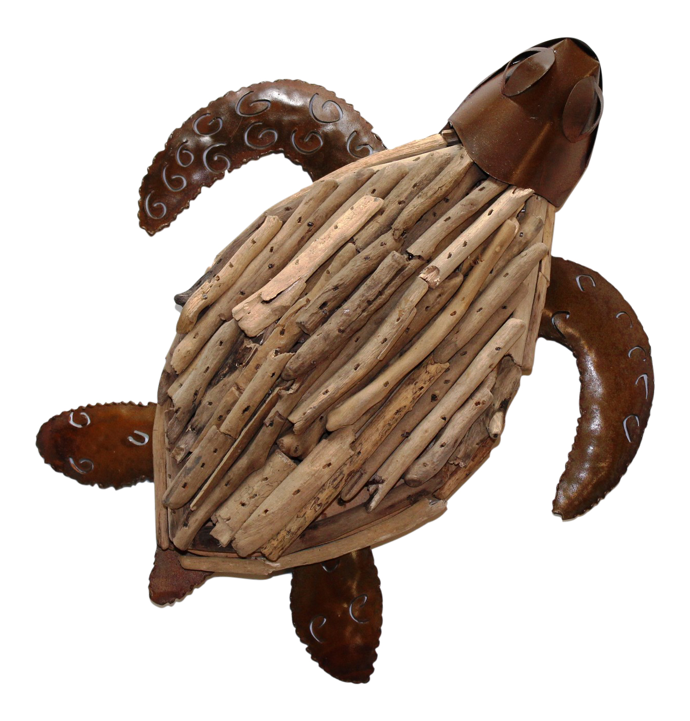 Natural Driftwood Sea Turtle Dimensional Wall Plaque 10 Inches