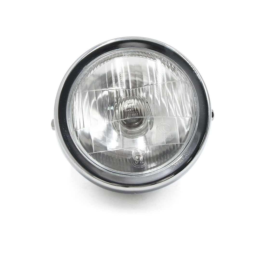 "12V 35W 6.5"" Chrome Shell Yellow Headlight w Square Mesh Cover for Harley - image 2 de 6"