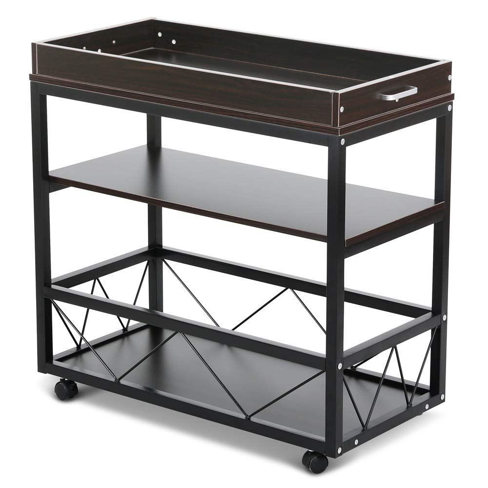 Tribesigns Serving Bar Cart, 3 Tier Kitchen Utility Cart with Lockable Casters, Metal Frame, Spacious Storage Shelf for The Home Living Room, Dining Room and Kitchen