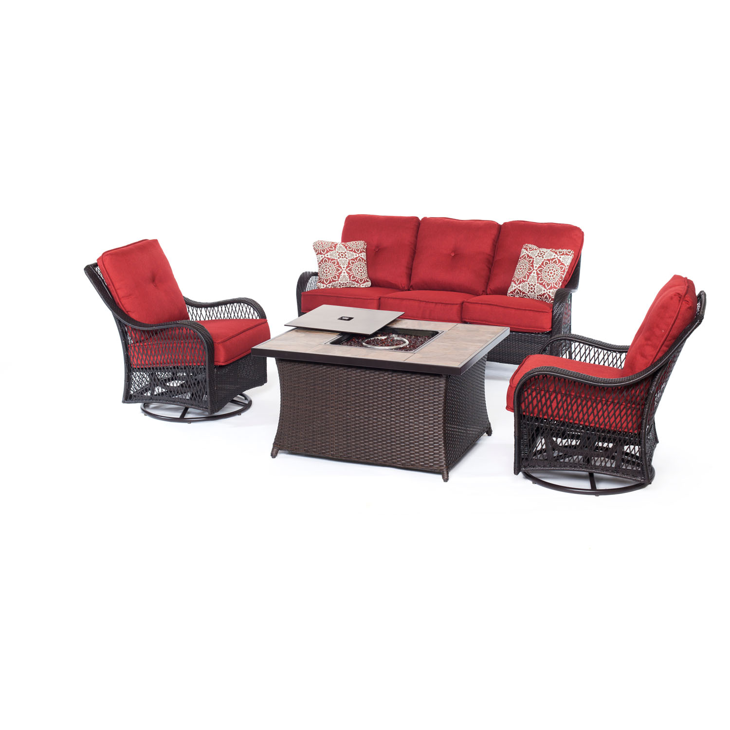 Hanover Orleans 4-Piece Woven Fire Pit Lounge Set with Faux-Stone Tile Top