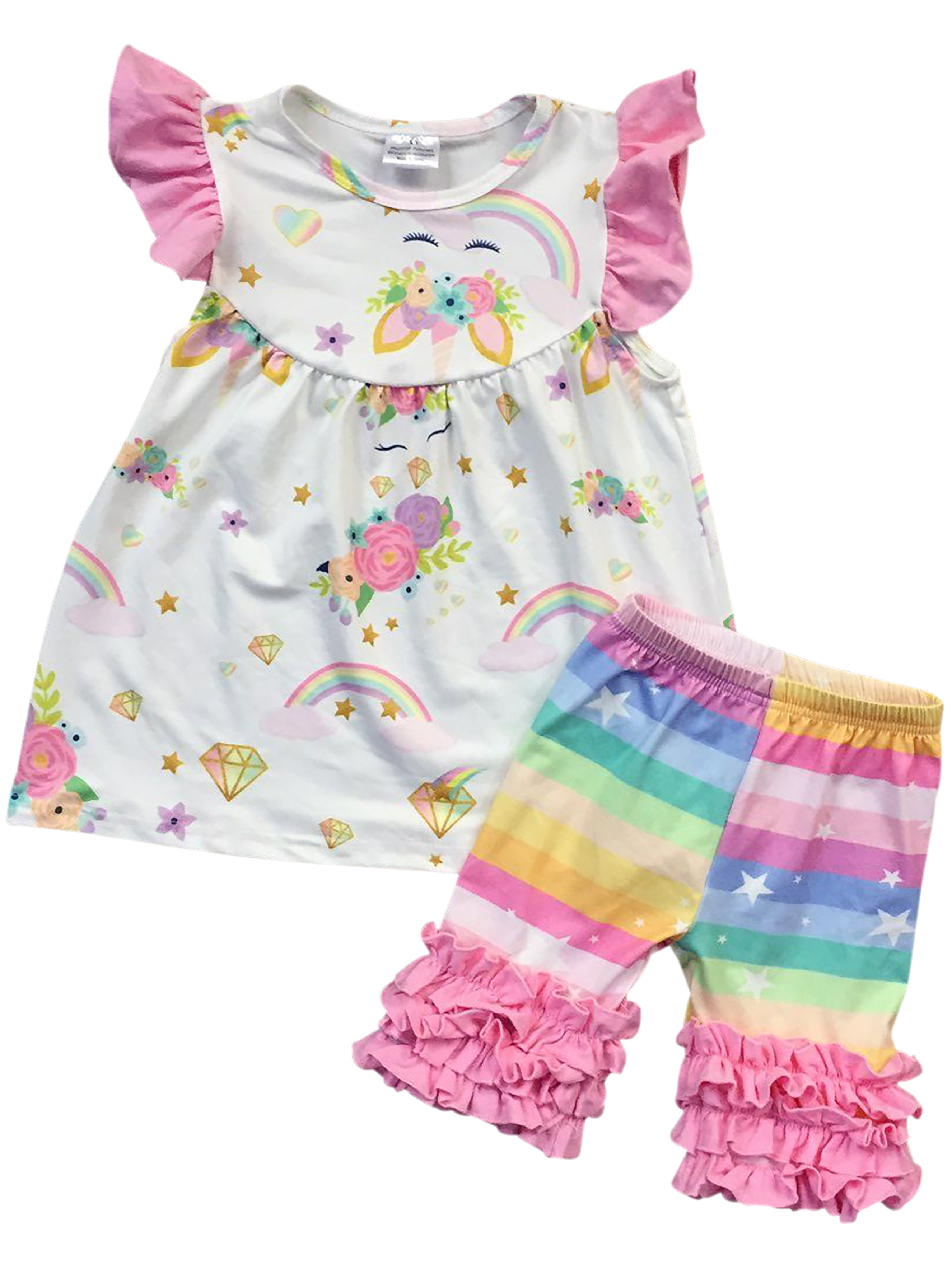Infant Girls 2 Pieces Pant Set Unicorn Dress Ruffle Outfit Clothing Set Off White 2T XS (501323)