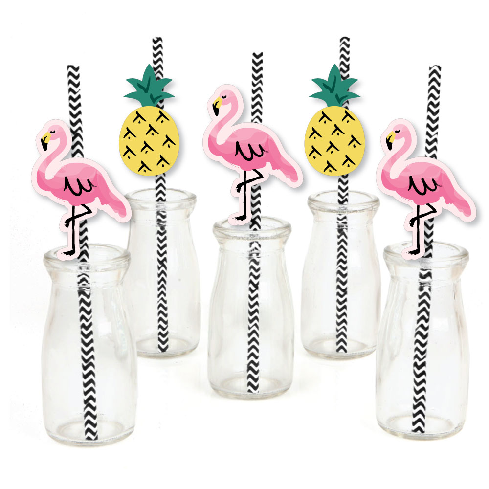 Pink Flamingo - Party Like a Pineapple - Paper Straw Decor - Tropical Summer Party Striped Decorative Straws - Set of