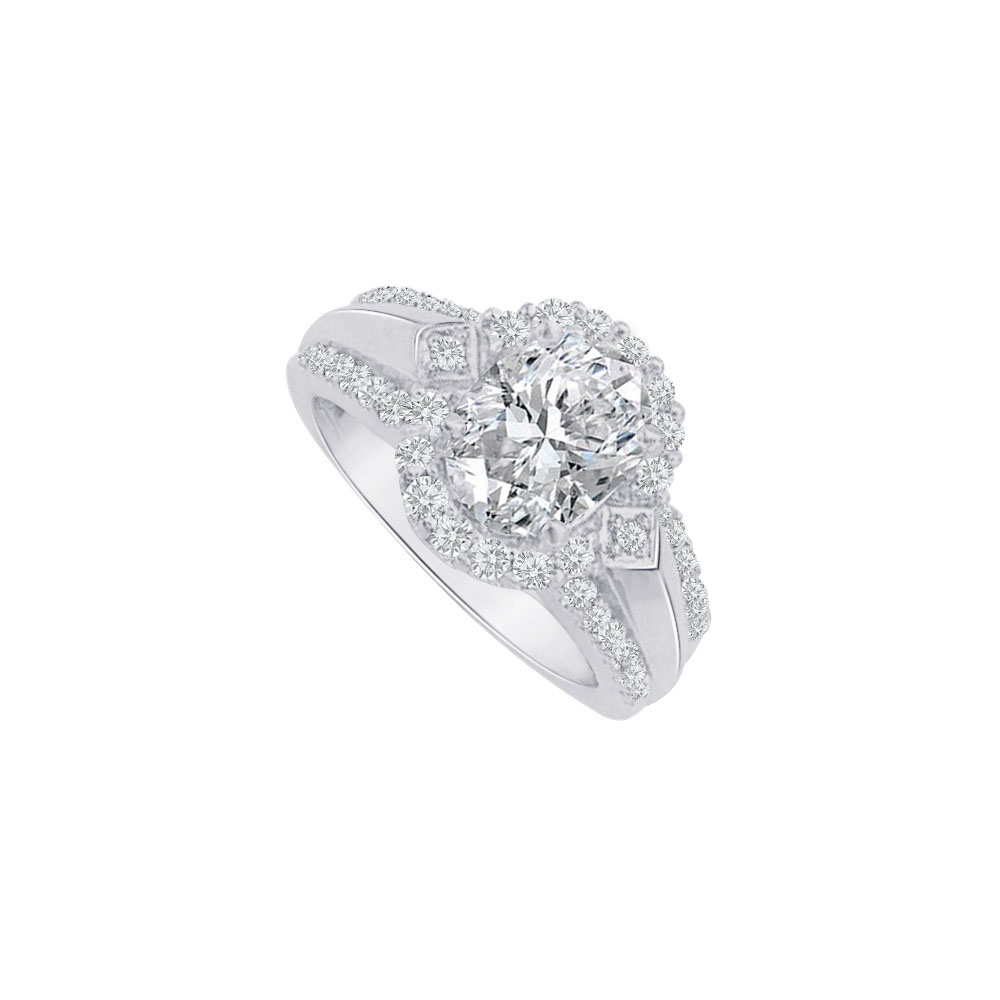Jewelry Oval CZ Halo Engagement Ring Sterling Silver 2 CT TGW - image 1 de 1