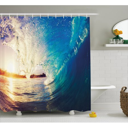 Ocean Shower Curtain Sunrise On Waves Surfer Perspective Surreal Coastal Charm Sports Lifestyle Scene