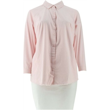 Joan Rivers Denim Boyfriend Shirt Fringe Hem Women's A302801
