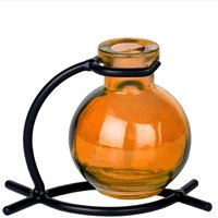 Couronne Co Casablanca Recycled Glass Vase & Metal Stand, M501-200-00-P, 5 inches long, 3.4 Ounce Capacity, Clear