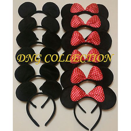 LWS LA Wholesale Store  12 Black Ear Micke Headbands F RED Polka Dot Bow Minnie Birthday party favor - Party Stores Tulsa