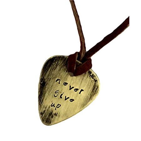 - Guitar Pick Necklace - Never Give up - Hand Stamped Necklace Leather - BFF Gift