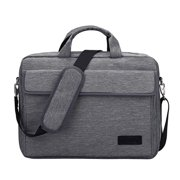 Men Vintage 15.6Inch Laptop Briefcase Messenger Shoulder Bag Notebook Bag Gray