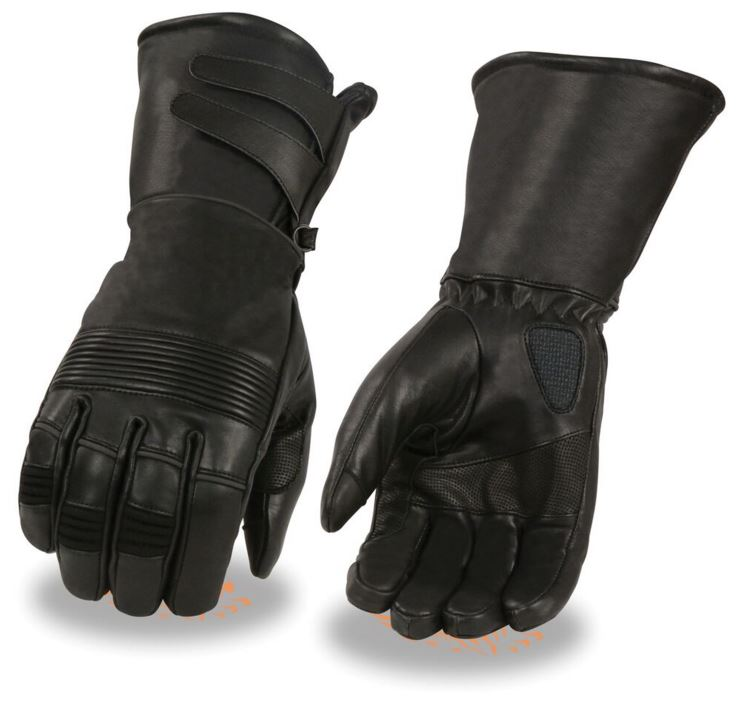 Milwaukee Leather Mens Premium Leather Thermal Lined Waterproof Gauntlet Gloves w/ Double Strap Wide Cuff Black