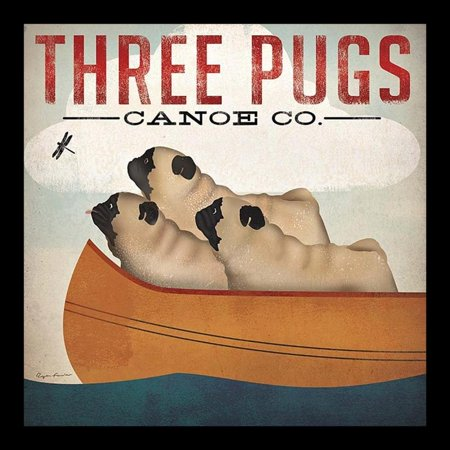Buyartforless Framed Three Pugs In A Canoe By Ryan Fowler Vintage Ads Animals Dogs Pets Print Poster 12X12