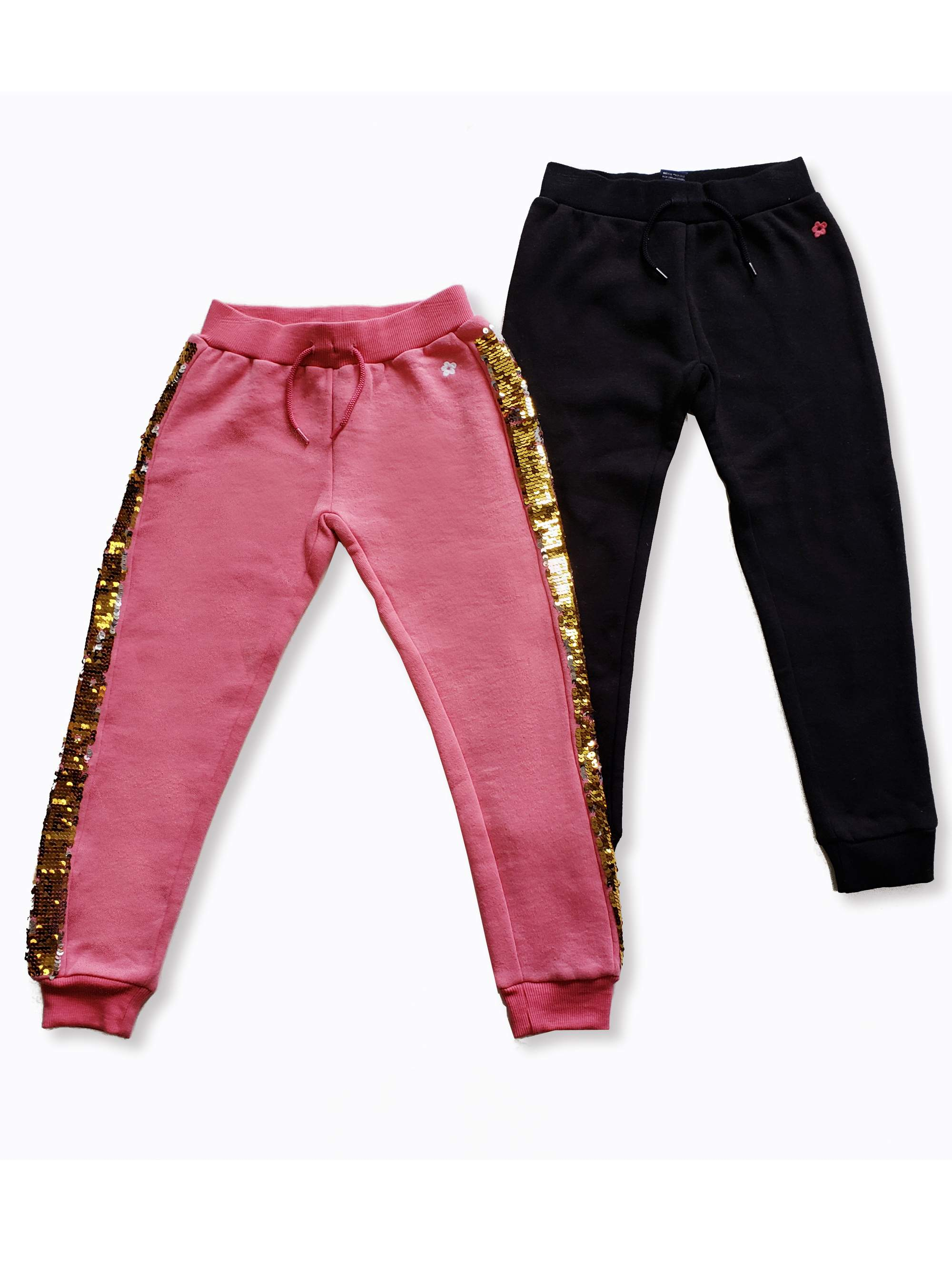 French Terry Sequin Jogger Pants, 2-Pack (Little Girls & Big Girls)