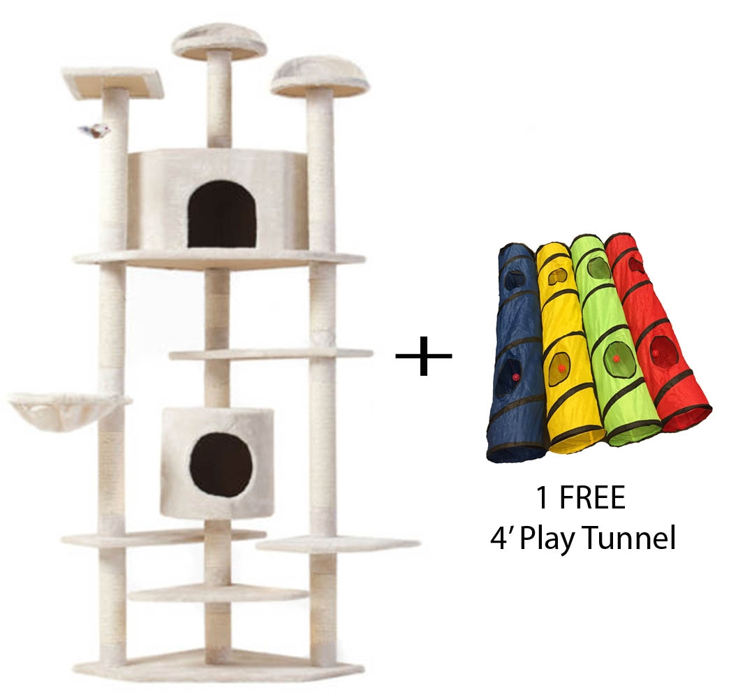 7' Cat Tree Multi-Level Pet House Kitty Condo Scratching Post + FREE Play Tunnel by Omni